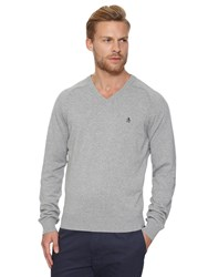 Original Penguin V Neck Cotton Jumper Rain Heather