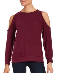 Design Lab Lord And Taylor Cold Shoulder Jersey Knit Top Burgundy