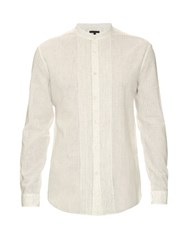 John Varvatos Pleated Bib Linen And Cotton Blend Shirt White