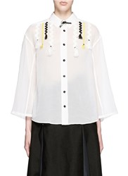 Toga Archives Wavy Embroidery Cotton Voile Shirt White