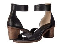 Frye Brielle Back Zip Sandal Black Soft Vintage Leather High Heels