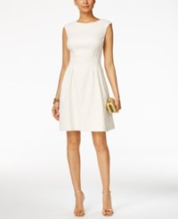 Vince Camuto Diamond Print Jacquard Fit And Flare Dress White