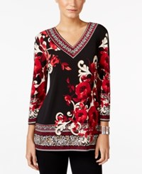 Jm Collection Mixed Print V Neck Top Only At Macy's Grand Opera