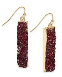 Inc International Concepts Gold Tone Druzy Crystal Bar Earrings Only At Macy's Merlot