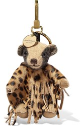 Burberry London Cashmere And Calf Hair Keychain