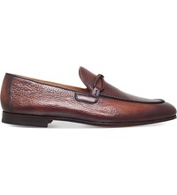 Magnanni Braided Trim Leather Loafers Tan