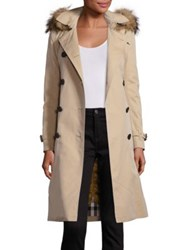 Burberry Kensington Fur Trimmed Hooded Cotton Trench Coat Honey
