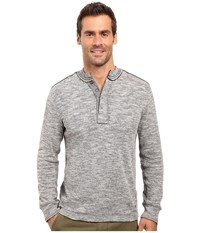 True Grit Double Weave Long Sleeve Snap Henley Heather Men's Clothing Gray