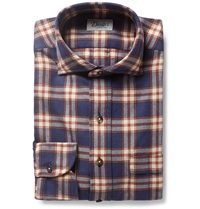 Drakes Checked Cotton Flannel Shirt Blue