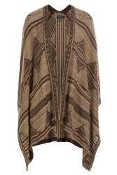 Polo Ralph Lauren Cape Cardigan With Silk Cotton And Linen Brown