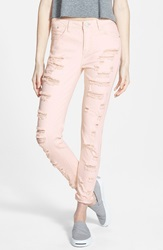 Fire Destroyed Skinny Jeans Juniors Daydream Pink