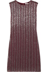 Ganni Humphrey Beaded Georgette Mini Dress Claret