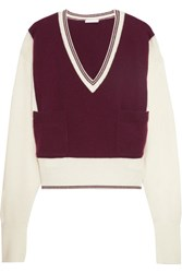 Chloe Two Tone Cashmere Sweater Burgundy