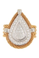 Alor 18K White Gold And Stainless Steel Diamond Teardrop Ring 0.27 Ctw Metallic