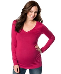 Motherhood Maternity Ruched V Neck Sweater