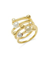 Majorica 4Mm White And Champagne Pearl And Cubic Zirconia Ring Gold