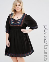 Alice And You Flutter Sleeve Dress With Embroidery Black