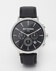 Ben Sherman Chronograph Leather Strap Watch Black