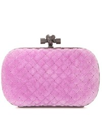 Bottega Veneta Knot Cotton Blend And Snakeskin Clutch Purple