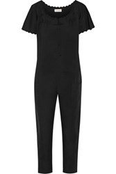 The Great Maiden Embroidered Cotton Jumpsuit Black