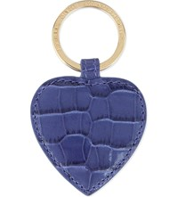 Smythson Mara Heart Leather Keyring Dawn Blue