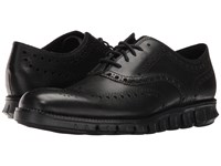 Cole Haan Zerogrand Wing Ox Black Closed Holes Black Men's Lace Up Wing Tip Shoes Black Closed Holes Black