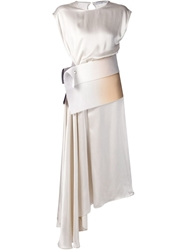 Dusan Asymmetric Draped Dress Nude And Neutrals