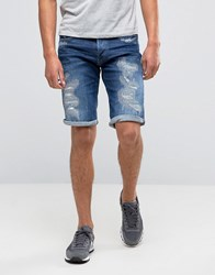 G Star 3301 Tapered Shorts With Abrasions Blue