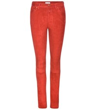 Closed Slim Fit Suede Trousers Red