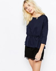 Only Long Sleeve Peplum Top Night Sky Navy