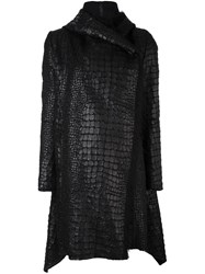 Masnada Crock Effect Wrap Coat Black