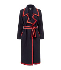 Burberry Wool Cashmere Contrast Trim Cardigan Female Navy