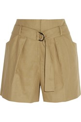 Isabel Marant Cotton And Linen Blend Shorts Nude