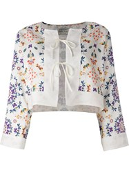 Forte Forte Floral Print Cropped Jacket White