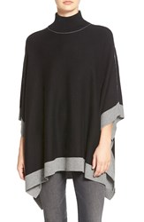 Splendid Turtleneck Poncho Black Cinder