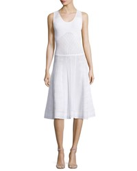 Prabal Gurung Sleeveless Flared Knit Dress White