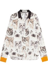 Stella Mccartney Printed Silk Crepe De Chine Shirt Ivory