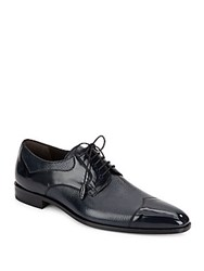 Mezlan Pebbled And Patent Leather Oxfords Blue