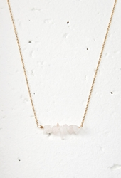 Forever 21 Clustered Faux Stone Charm Necklace Rose Gold