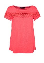 Hallhuber T Shirt With Sheer Lace Insert Pink
