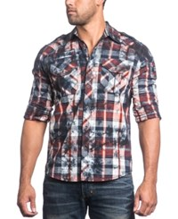 Affliction Men's Back To Life Tie Dye Plaid Embroidered Long Sleeve Shirt