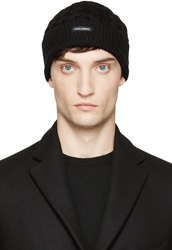 Dolce And Gabbana Black Wool Cable Knit Beanie