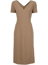 Agnona V Neck Midi Dress Nude And Neutrals