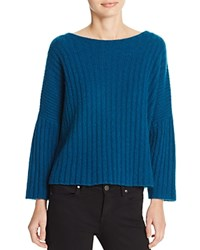 360 Sweater Cropped Ribbed Cashmere Peacock