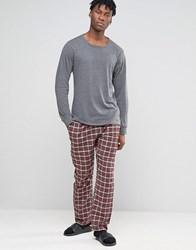 Esprit Lounge Pants In Flannel Check In Regular Fit Red