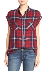 Rails Women's 'Britt' Cap Sleeve Plaid Shirt Cherry Navy White