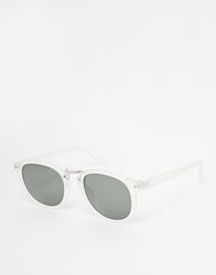 Asos Round Sunglasses With Metal Bridge White