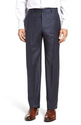 Zanella Men's Flat Front Plaid Wool Trousers