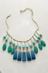 Anthropologie Equatorial Fringed Bib Necklace Green Motif