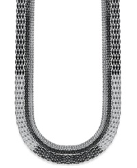Style And Co. Necklace Silver And Hematite Tone Long Mesh Chain Necklace